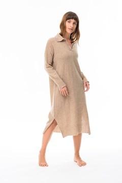 Imagen de Gardenia - Vestido Camisero de Punto Beige